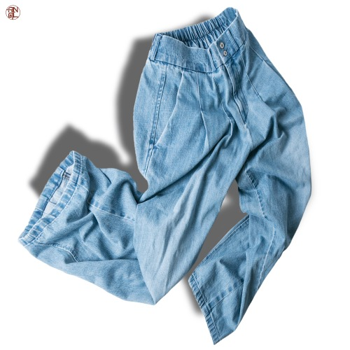 Washing Denim Easy Balloon Pants - Sky Blue