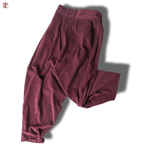 Corduroy Easy Balloon Pants - Burgundy