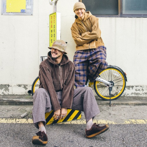 Heavy Corduroy Hoodie Jacket & Check Balloon Pants