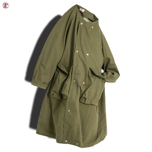Raglan Double Military Coat - Khaki