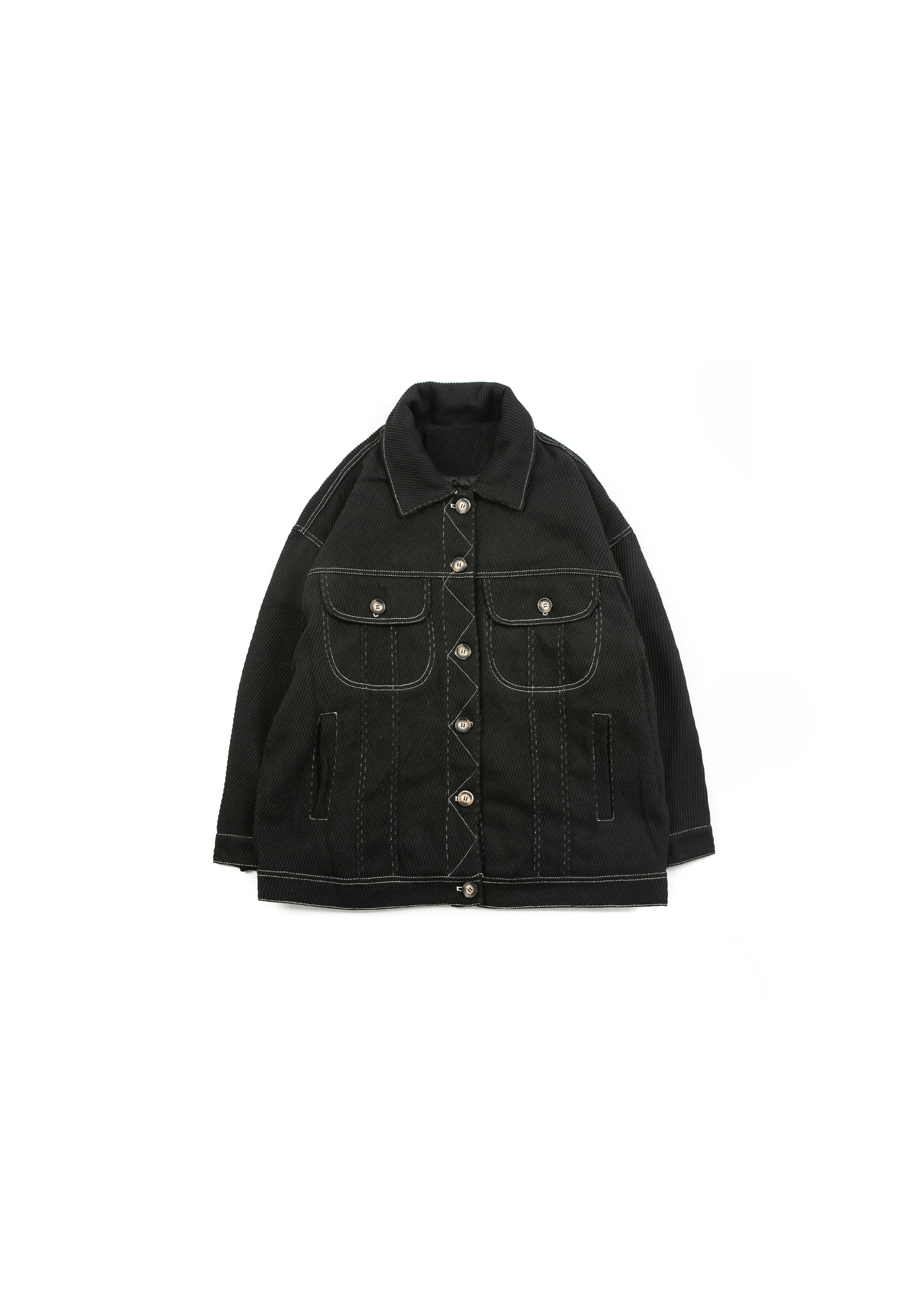 Twill Line Corduroy Jacket - Black