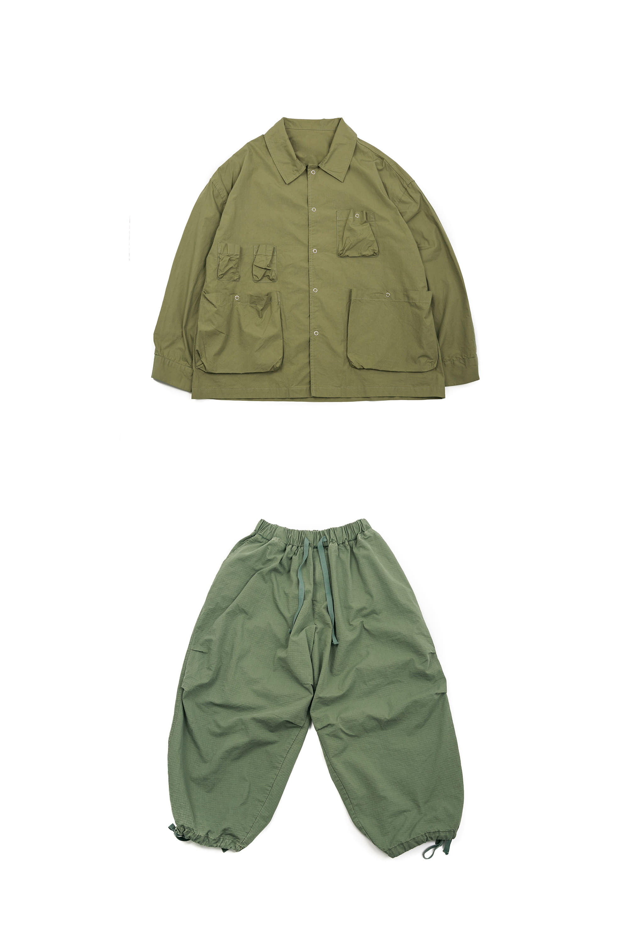 Ring Utility Jacket & Rib Army Balloon Pants - Khaki