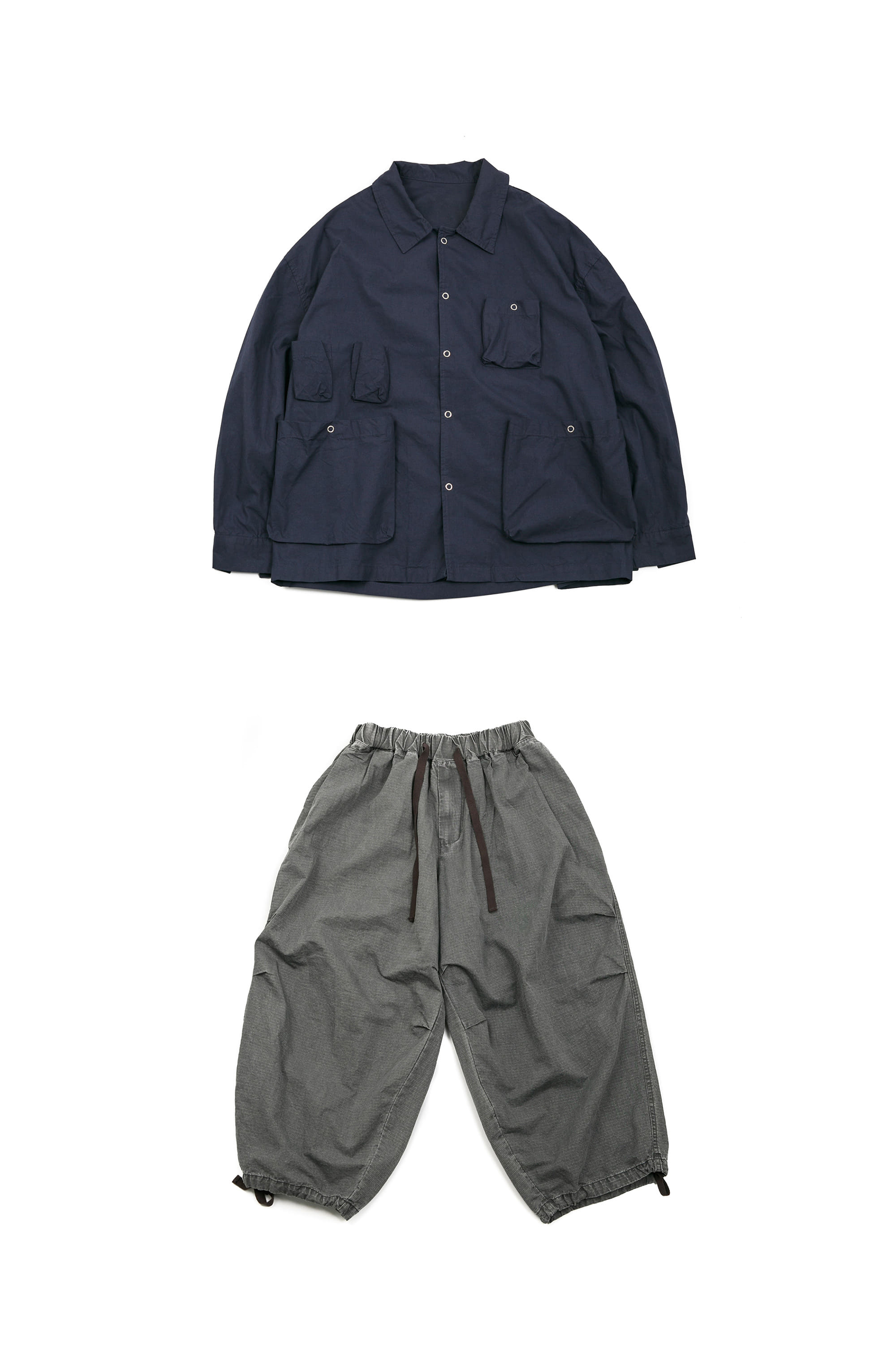 Ring Utility Jacket - Navy & Rib Army Balloon Pants - Grey