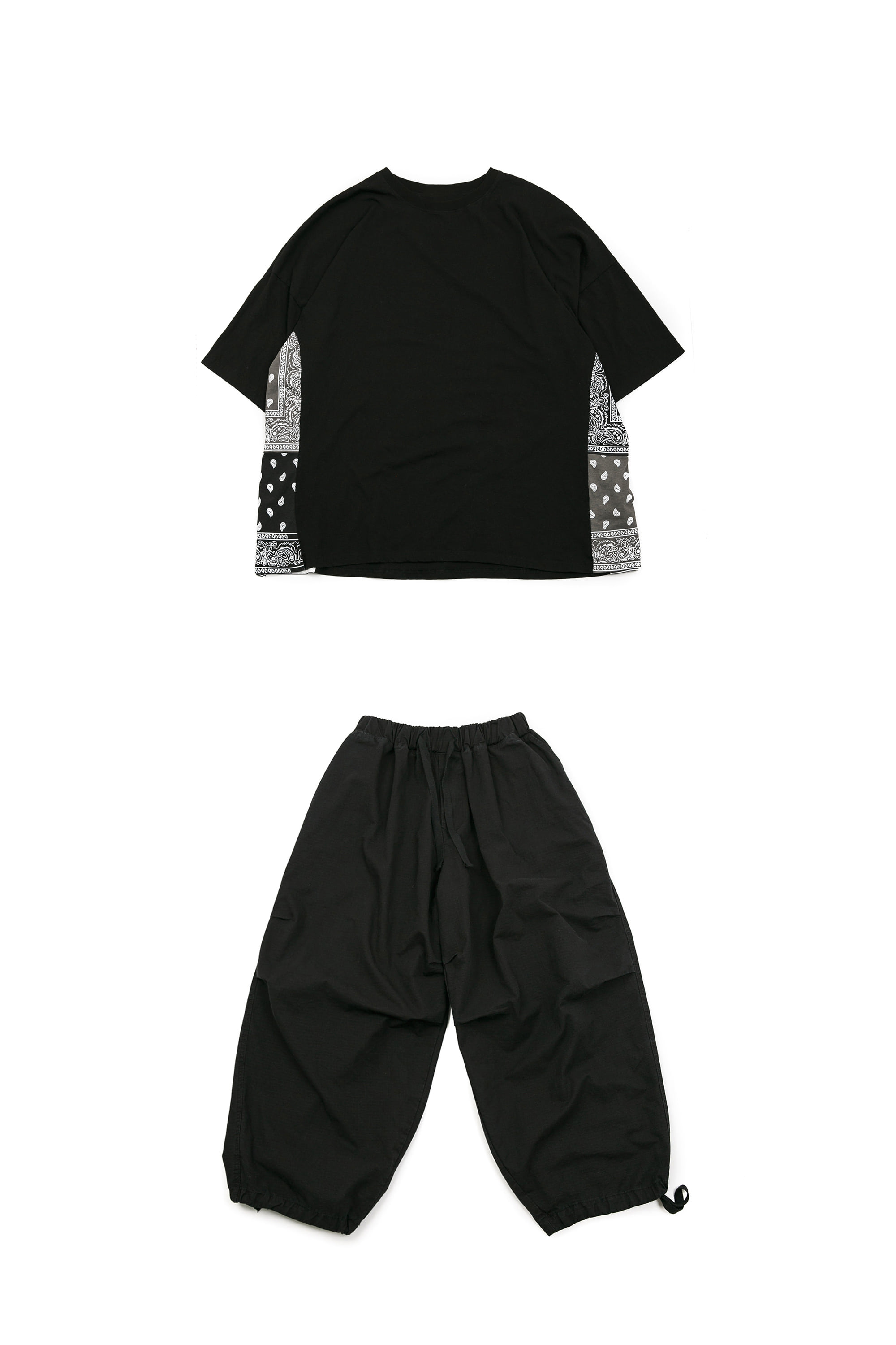 Side Paisely Half Tee - Black & Rib Army Balloon Pants - Black