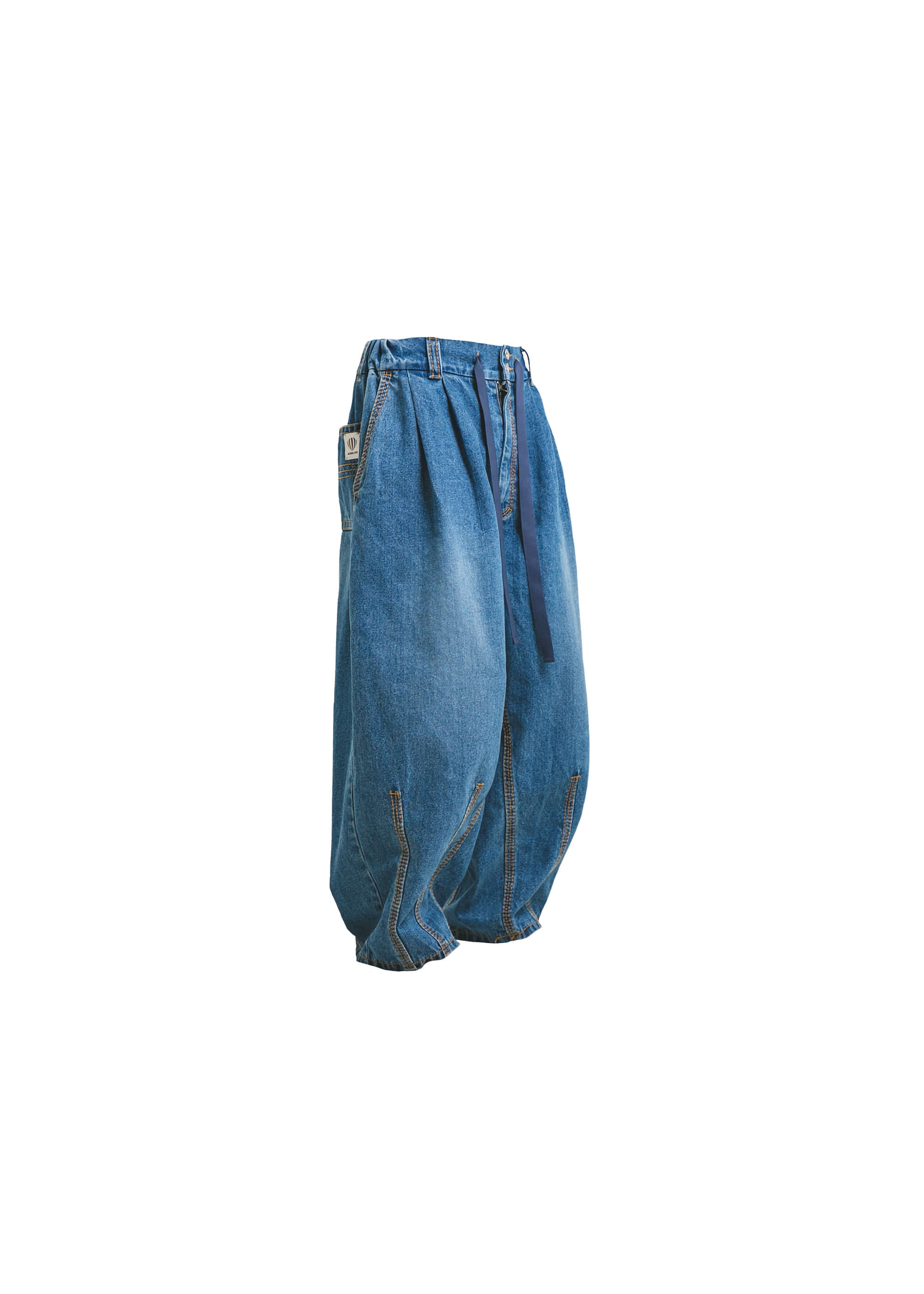 [AG] Big Stitch Denim Balloon Pants - Mid Blue