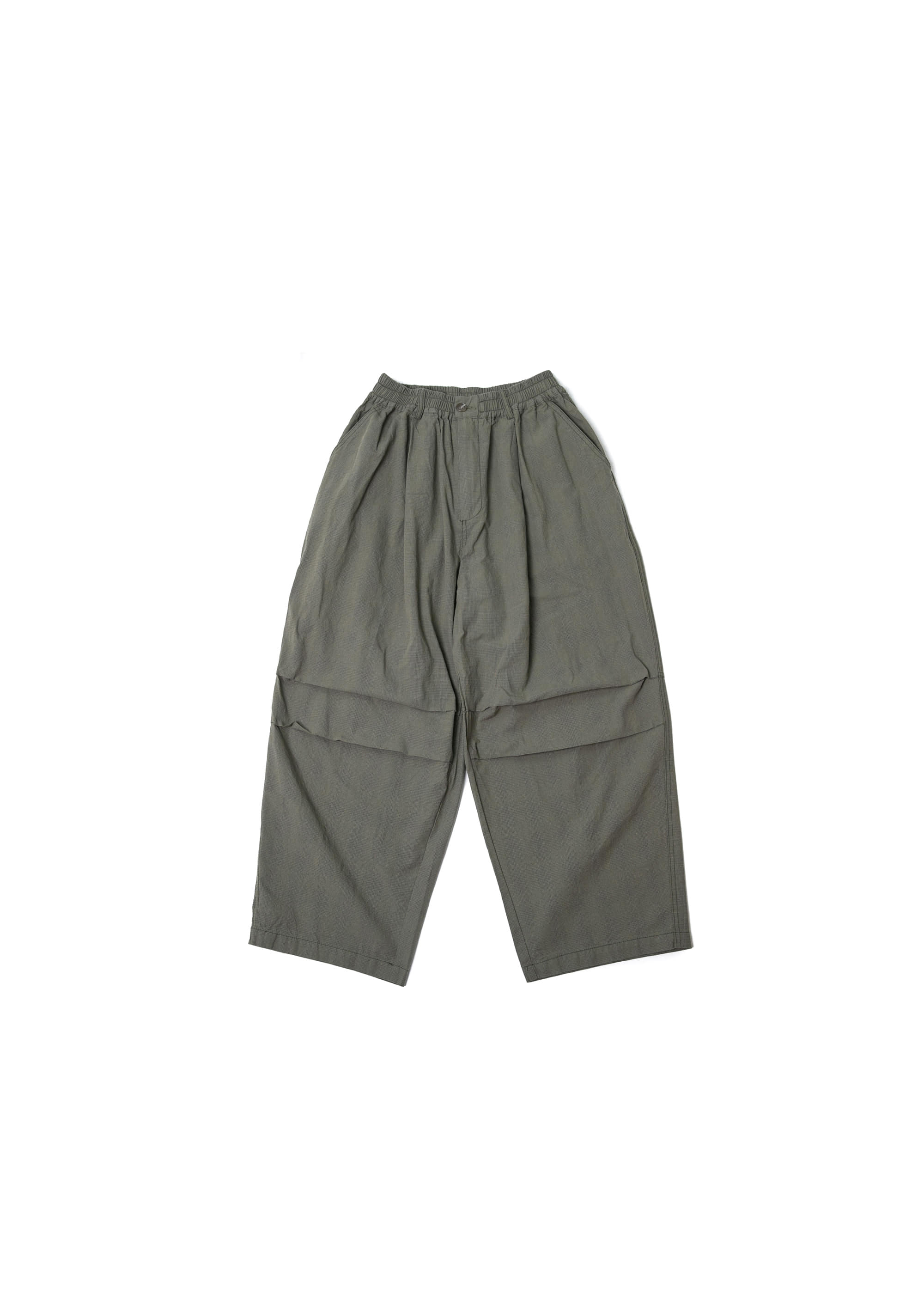 Square Check Army Balloon Pants - Khaki