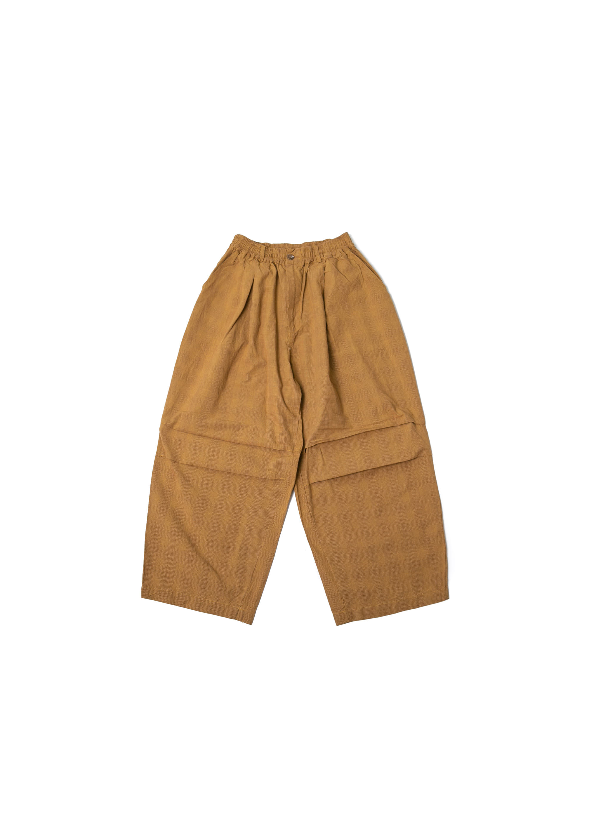 Square Check Army Balloon Pants - Mustard