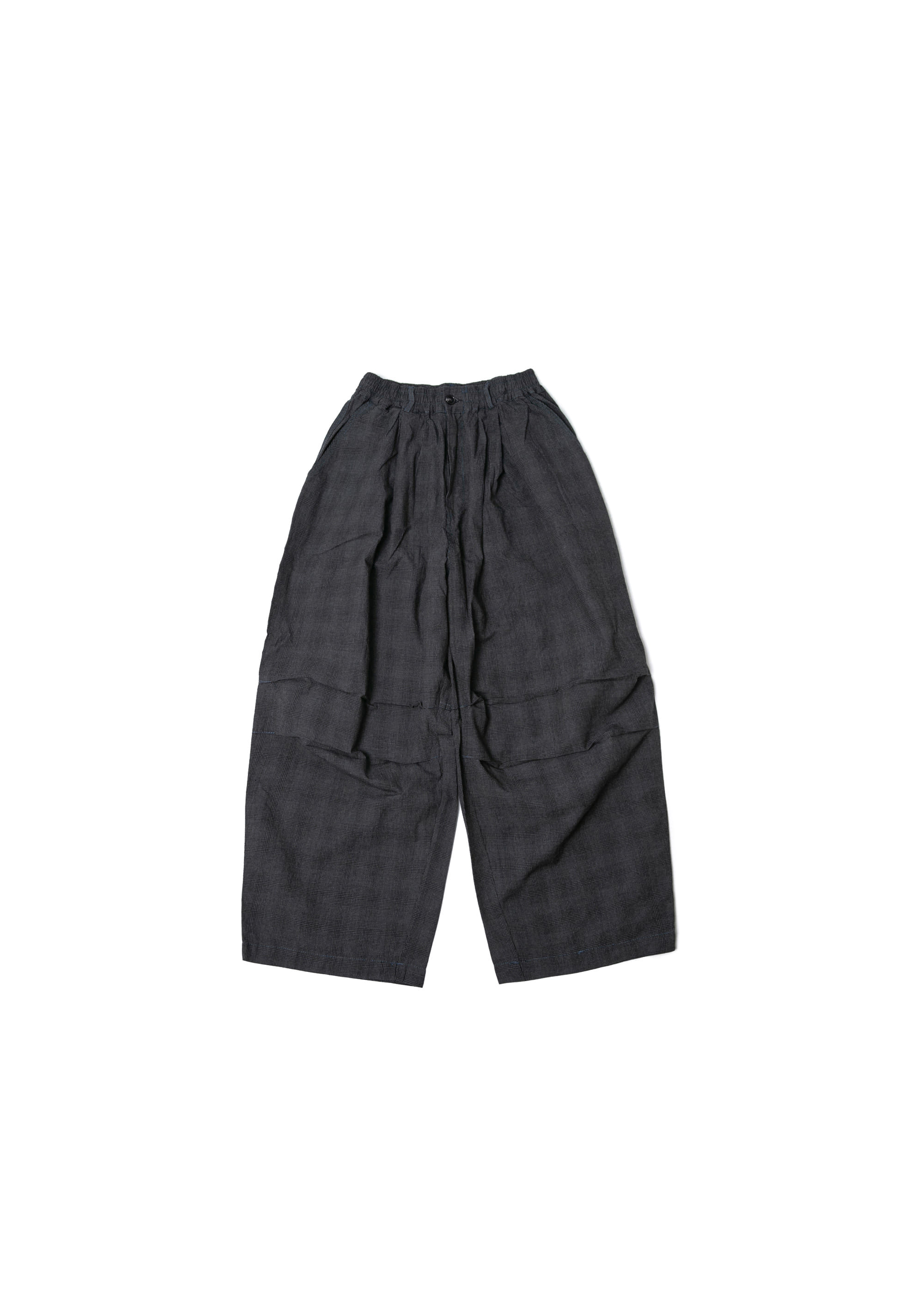 Square Check Army Balloon Pants - Black