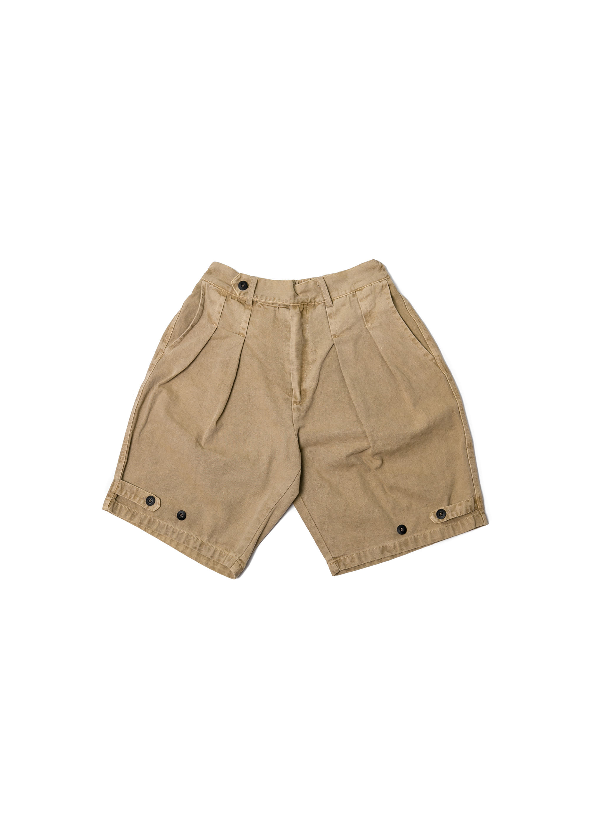 Adjust Button Banding Bermuda Pants - Beige