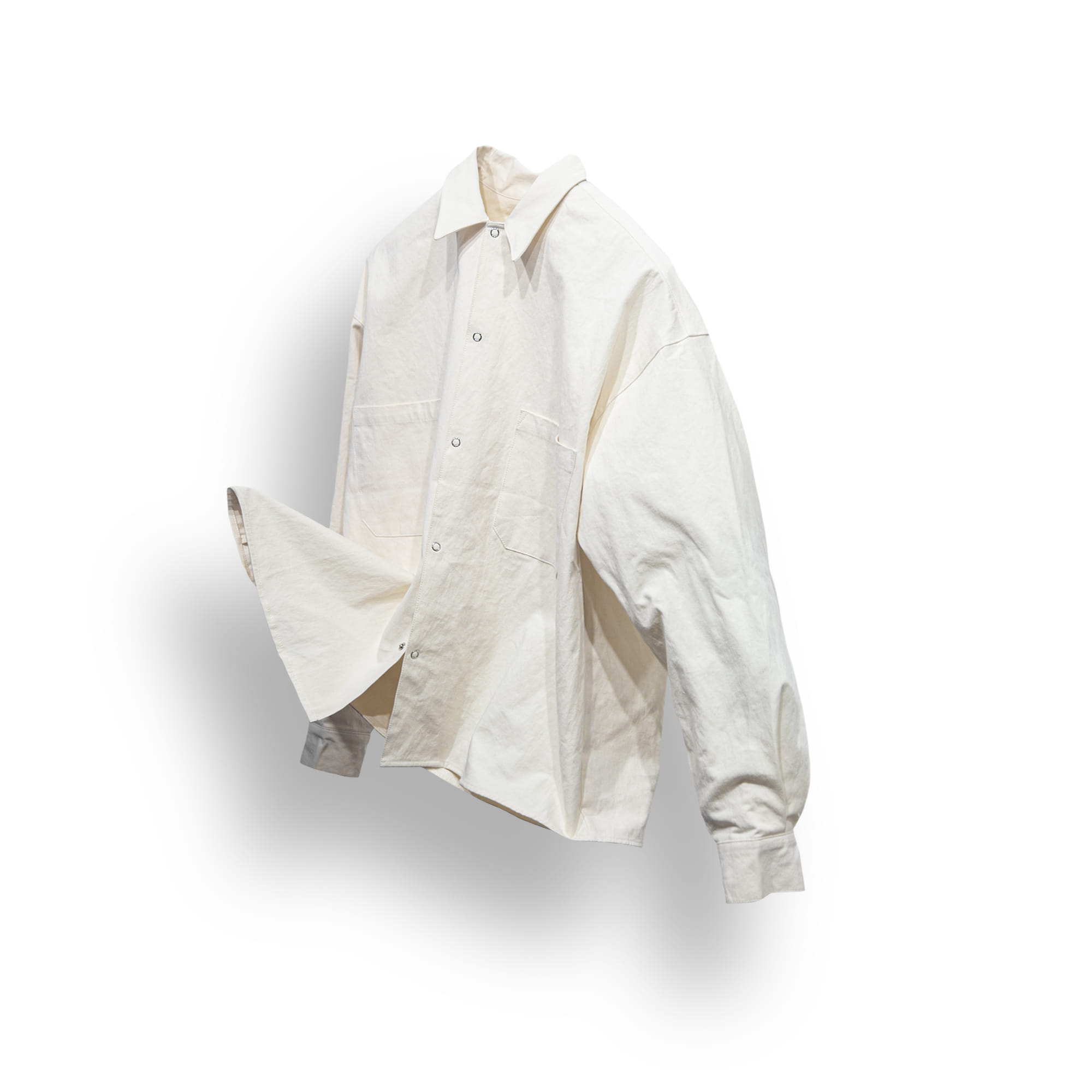 Natural Solid Over Shirt - Ivory
